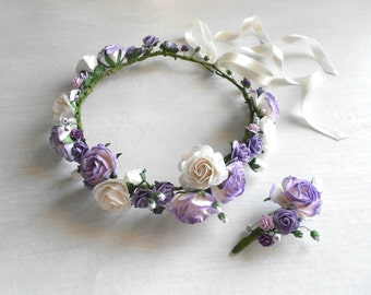 Lavender Lilac White Paper Flower Hair Wreath / Handmade Bridal Accessory / Flower Boutonniere / Matching Couple Accessories