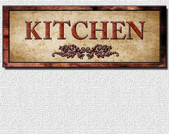 Special Fine Art, KITCHEN sign Decor For Your Home. 16 by 6 inches Mounted and Ready To Hang. Free Ship