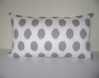 Grey Dots Pillow Cover, Grey Dots Lumbar Pillow Cover, Grey/White Pillow Cover