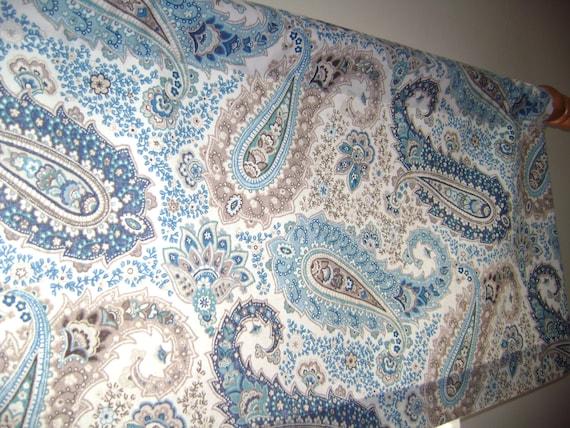 Paisley Valance Window Valance Blue/Brown by CleusaSordiDecor