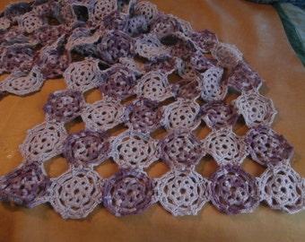 Large Purple Lacy Elegent Crochet Flower Motif Shawl