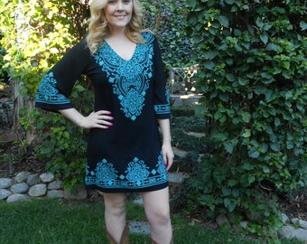 Plus Size Dress, Dress, Plus Size Clothing, Black Dress, Womens Plus Sizes, Tunic Dress, Black Turquoise,XS S M L XL 2X 3X,3/4 sleeve,V Neck