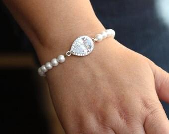 pearl bridal bracelet bridal jewelry wedding bracelet bridesmaid bracelet zirconia bracelet