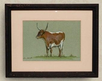 PRINT-Cow -Pineywoods cattle bull  Cow painting print, farm nursery-Art Print by Juan Bosco