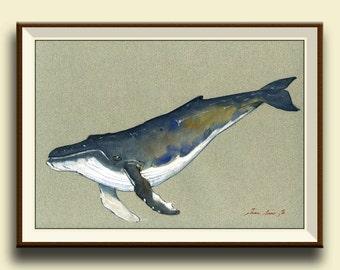 PRINT-Whale Humpback whale print artwork art print watercolor painting ocean blue whale - Art Print by Juan Bosco