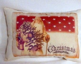 Throw pillow - Christmas Pillow - Father Christmas - pillow - Christmas gift - vintage Christmas - Santa Clause - St. Nick - Holiday pillow