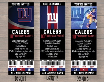 birthday ticket, birthday Party, New York Giants birthday party, New York Giants birthday invitation, Giants birthday, digital file