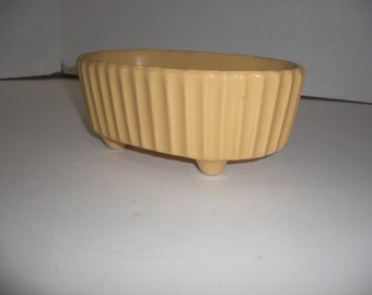 Hull Container, Mid-Century Pottery USA Made, Floral Container, F39, Mustard Color