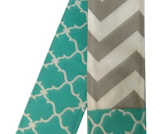 Teal Moroccan and Gray Chevron Reversible Camera Strap Cover