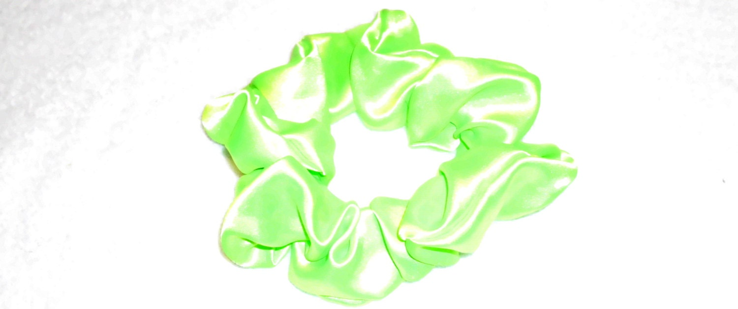 Green Scrunchie Scrunchy Lime Green Satin Dreadloc