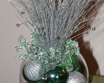 Christmas Centerpiece - Green and Silver Holiday Decor