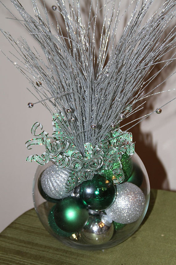 Christmas centerpiece green and silver holiday decor