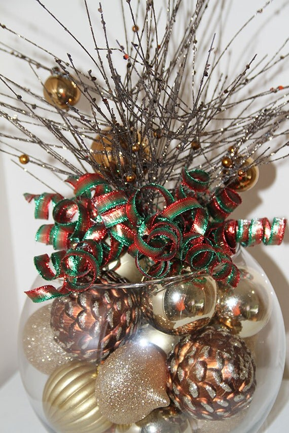 Gold red and green christmas pinecone centerpiece unique