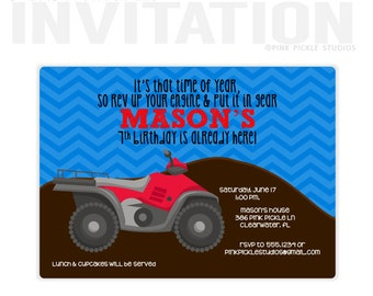 4 Wheeler Invitation, 4 Wheeler Birthday Party Invitations, personalized thank you cards, birthday invitations, party invitations / No.387