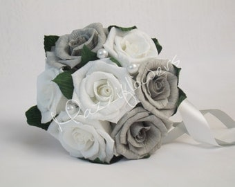 Wedding bouquet, bridal bouquet, bridesmaid bouquet,bridal paper flower,paper flower bouquet,gray and white roses,