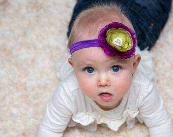 RTS Lilypad Blossom Headband {Purple headband, purple and green headband, toddler headband}