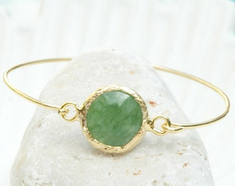 Mystic Jade Bracelet Virginia - Gold and Jade Bracelet, Green Jade Jewelry, Jade Bangle Bracelet, Jade and Gold filled Jewelry