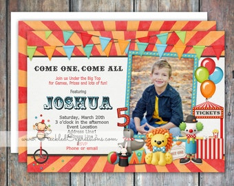 Carnival Games Circus Birthday Invitation