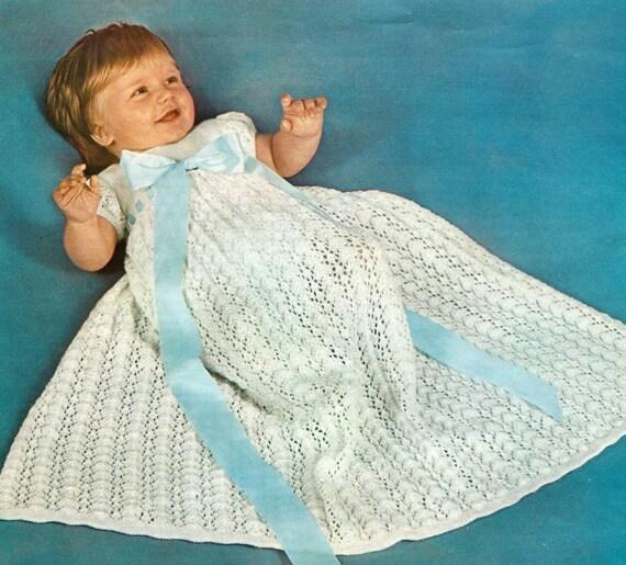 Knitting Pattern Baby Dressing Gown : PDF Knitting Pattern Babys Christening Gown Dress Robe