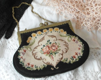 Petit Point Tapestry Bag handmade embroidery unique floral decoration ladies handbag fine timeless Bridal Gift or collectors Decoration