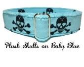 Black Skulls Plush Baby Blue Martingale No Slip Collar | Greyhound Whippet Doberman Adjustable Dog Collar | Tag Collar | Small  Large Collar