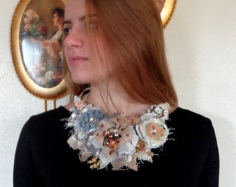 Necklace style,  fabric flowers, fashion