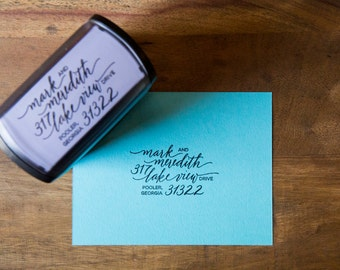 Custom Calligraphy Return Address Self Inking Stamp