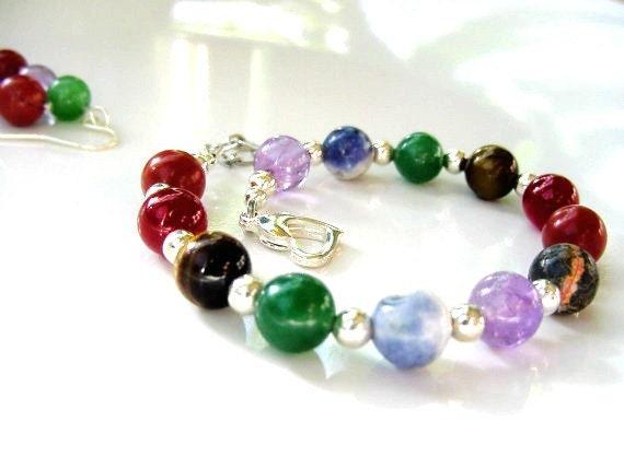 Energy Balance Bracelet -  7 Chakra Gemstones, Beaded Bracelet, Chakra Balance, Reiki Jewelry, Chakra Jewelry