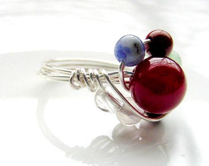 Chakra Ring - Semi Precious stones, Sterling Silver Upgrade, Balance, Harmonize, Love, Reiki Chakra Jewelry, Healing Jewelry, FREE SHIPPING