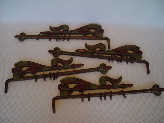 Cast iron swing arm curtain rods decorative curtain rods set of 4