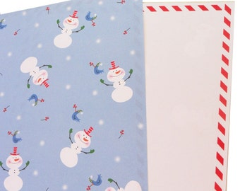 Christmas Holiday, 12 Double Sided Laser Sheets, Paper,  Snowman, Red, White, Blue, Candycane