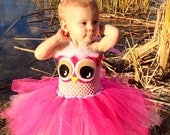 Pink Owl Tutu Dress (NB-3T)