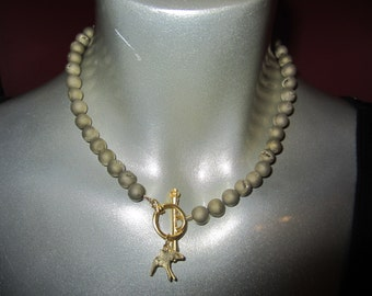 Wood and drusy bead necklace with gold toggle and charm
