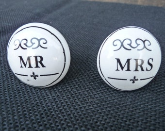 Choose MR or MRS Ceramic Knobs ~ Black & White ~ Drawer Pulls ~ Wedding Romantic Shabby Chic Decorative