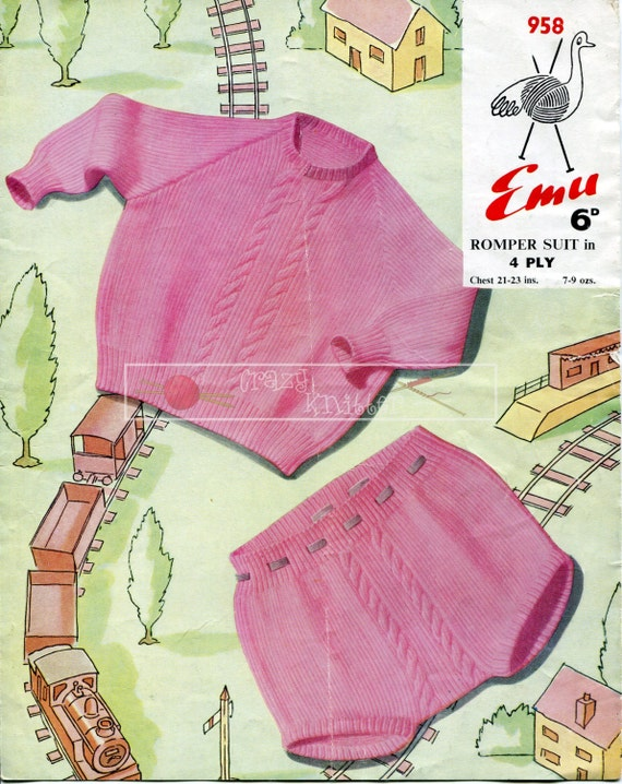 "Baby Romper Suit 4ply 21-23"" Emu 958 Vintage Knitting Pattern PDF instant download"