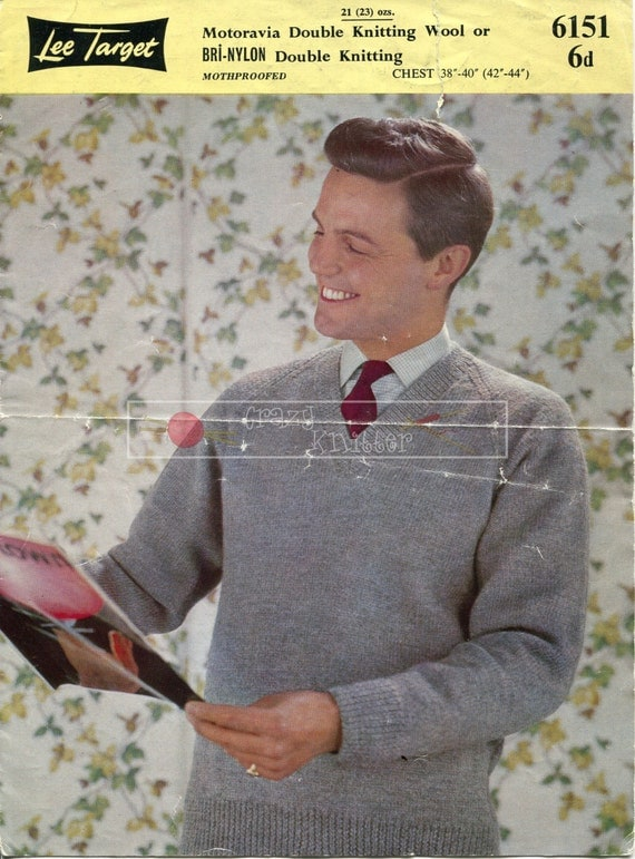 Men's Pullover DK 38-44in Lee Target 6151 Vintage Knitting Pattern PDF instant download