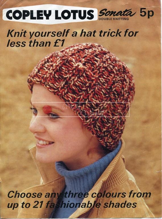 Lady's Hat DK One Size Copley Lotus Vintage Knitting Pattern PDF instant download