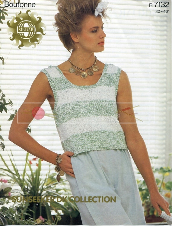 "Lady's Summer Top DK 30-40"" Sirdar 7132 Vintage Knitting Pattern PDF instant download"