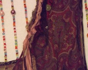Price Reduced SAVE Big    Gypsy Jess Up-cycled Silk Bohemian Hippie Dress with tatters and roses