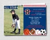 Sports Party Photo Invitation - General Sports Theme Birthday - Boys Birthday - Digital Design or Printed Invitations - FREE SHIPPING