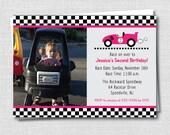 Girl Race Car Photo Birthday Invitation - Girl Race Car Themed Party - Girl Birthday - Digital Design or Printed Invitations - FREE SHIPPING