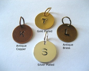 Personalized Initial Hand Stamped Charm Add On - Silver Plated Charm - Gold Plated Charm - Brass Charm - Copper Charm