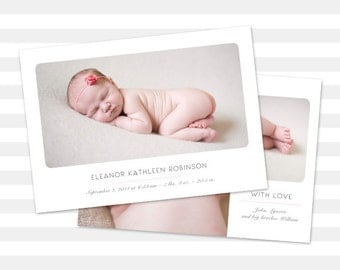 Girl Baby Announcement, Girl Birth Announcement, Double Sided - Eleanor