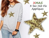 3 Iron On Big Christmas Stars Patch Appliques