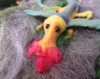 Little dragon, green and colourful, hand felted