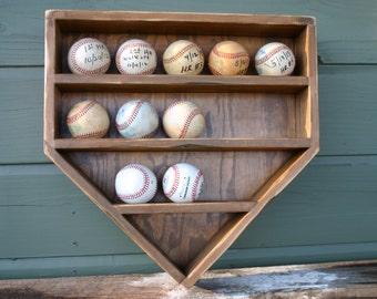 Baseball Wall Organizer-Baseball Rack-Baseball Holder-Ball Case-Baseball storage Wood