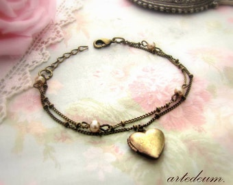 Heart Locket Bracelet with champagne pearls and double stranded adjustable chain vintage in Antique Bronze fine cuff