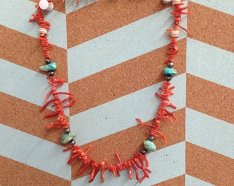 Vintage Coral Necklace Accented with Turqoise Nuggets, Silver Beads and Shell