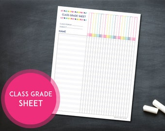 Printable Class Grade Sheet - INSTANT DOWNLOAD - Classroom Organization