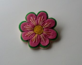 Embroidered Pink Felt Flower Brooch